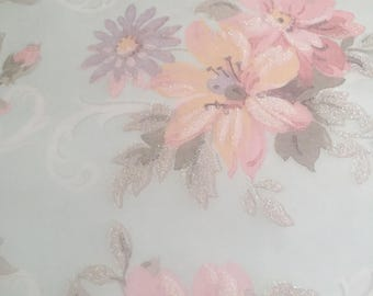 """10 5.75""""x5.75"""" sheets light green vellum with floral pattern and glitter"""