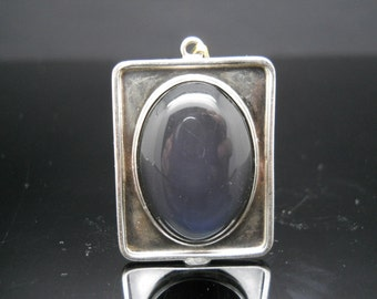 Sterling Silver Hand Made Blue Tourmaline Pendant 925 Estate Jewelry Cabochon