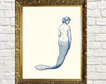 Mermaid Nautical Art Print Bathroom Art Wall Decor Coastal Print Mermaid Wall Art