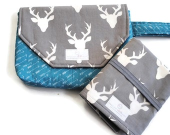 Grey Buck Diaper Clutch with Travel Changing Pad - New Mom Gift - Baby Accessories - Made to Order