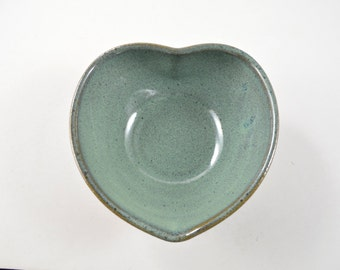 Heart Shaped Pottery Bowl, Trinket Bowl, Wheel Thrown Stoneware Pottery Candy Dish, Jewelry Dish