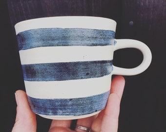 Contemporary Cornish Blue & White Mug