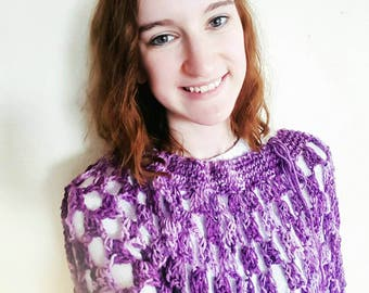 Light and Airy Crochet Poncho (Purple)