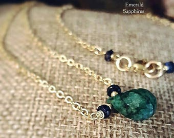 SageAine:Emerald Briolette with Sapphires Gold Necklace, Prosperity, Archangel Ophaniel, Heart and Third Eye Chakras , Reiki Charged