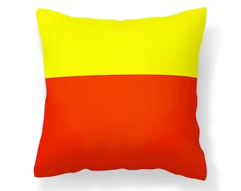 Orange Pillow Cover / Orange and Yellow Pillow Cover / Orange and Yellow Colorblock Pillow Cover / Decorative Pillow Cover / Throw Pillow