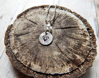 Herkimer diamond necklace, diamond stamp, silver charm necklace