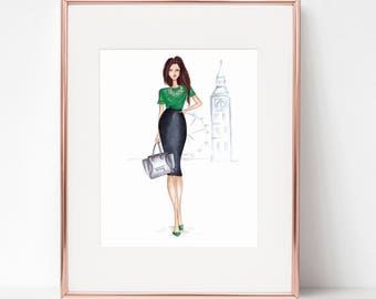 London Girl Fashion Print