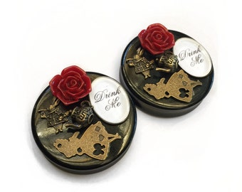 SALE 46mm Alice in Wonderland Ear Plugs