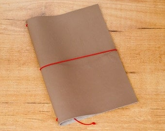 Handmade Leather Traveler's Notebook, Midori style in Regular/Wide size - Taupe