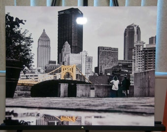 """Pittsburgh Photo, selective color HDR photo, black, white, yellow, 16x20"""" Aluminum Metal print, A Rainy Day in the Burgh"""