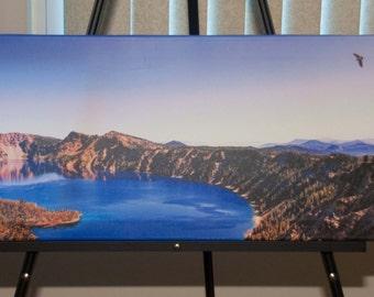 Blue Lake Sunset photo, HDR photo, Blue, green, purple, and brown, 12x36 Canvas Panorama photo print, The Caldera's Edge