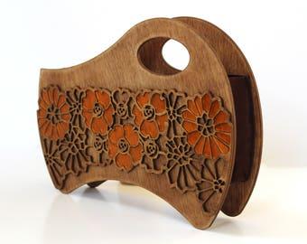 NEW ARRIVAL  !!! great gift -Wooden bag, wooden handle bag, Art nouveau bag, Silk bag, unique handle bag, clutch bag