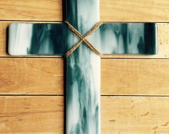 Deep Aqua and White Fused Glass Wall Cross
