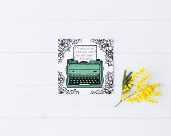 Love Card Greeting Relationship Wedding Engagement Friendship Typewriter Succulents