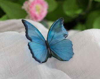 Blue morpho big butterfly brooch. Looks like the real butterfly, but it's man made. Comes in a gift box.