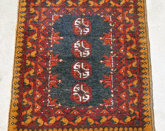 HOLD for GRETCHEN -- Turkoman Mustard, Orange & Black Rug -- 2 ft. 8 in. by 1 ft. 10 in.