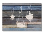"""Blue Sailboats Wood Print, 20""""x14"""" Ocean Wall Decor, Hang in or out, Home Wall Hanging, Nautical Gift Ideas (WBSB2014)"""