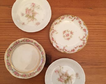 Antique Butter Pats Roses lot of 4