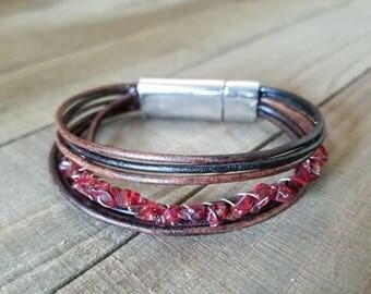 Garnet stone bracelet - garnet bracelet - garnet jewelry - leather garnet bracelet - garnet birthstone - leather bracelet - garnet stone