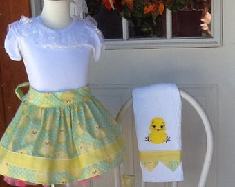 Easter half child's Apron with towel ready to ship size 4/5/6 only one