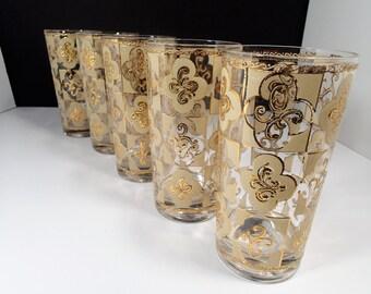 Culver Drinkware glasses  CUV16  highball glasses, 22 karet embossed gold Filigree Design, enameled glass, Unsigned