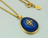1980 Vintage AVON 'Royal Impressions' Pendant Necklace. 15-3/4 inches long. Blue Pendant Necklace. Vintage Avon Jewelry