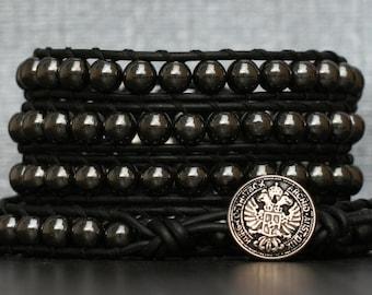 READY TO SHIP wrap bracelet- hematite and on black leather- mens biker gothic boho rocker bracelet