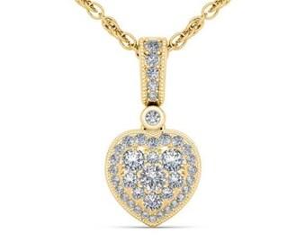 10Kt Yellow Gold 0.33 Ct Diamond Heart Pendant