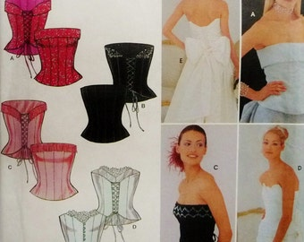 """Bustier Corset Top, Lined and Boned Simplicity 9180 Sewing Pattern Miss Sizes 6 - 16, Bust 30.5"""" - 38"""" UNCUT"""