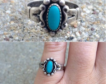 vintage Native American Bell Trading Post sterling silver turquoise southwestern ring size 5.25