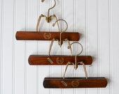 Vintage Wood Pants Hangers - Set of 3 Clamp Style Wooden Photo Display 14K Gold Plate