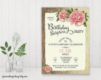 Surprise Party Invitation, 50th Birthday Party, Adult Birthday Invite, Women, Feminine, Rustic, Peonies, 60th, 70th, 80th, 90th Celebration