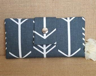 Womens Wallet, Fabric Wallet, Women's Bifold Wallet,  Arrow Print In Gunmetal