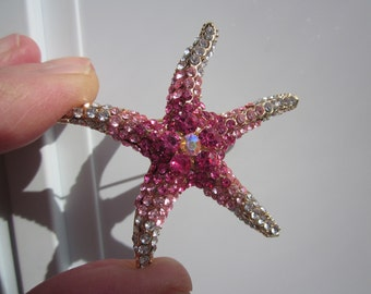 Impressive STARFISH large brooch w sparkling Light to Hot Pink CRYSTALS!