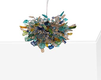 Hanging chandeliers with sea color and gold flowers and leaves for dinning room, living room or bedroom.