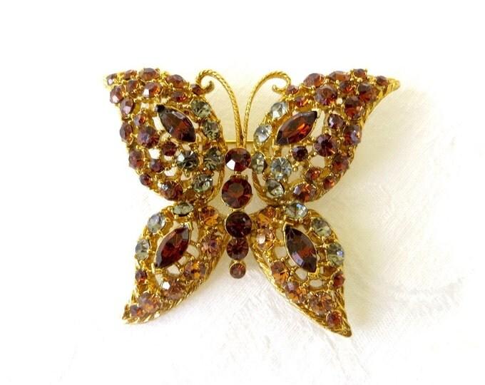 Vintage Rhinestone Butterfly Brooch, Amber Rhinestones, Butterfly Jewelry