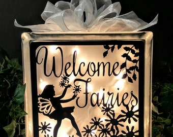Fairies Welcome Lighted Glass Block