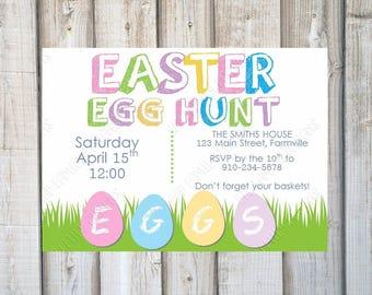 EASTER PARTY INVITATION, Easter Egg Hunt, Easter Brunch, Spring Party, Easter Party Invite, Easter, Printable, Customized, Digital Print