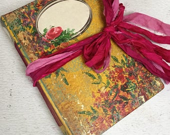 Spring woodland wedding guest book   Floral  scrapbook, photo album, hand painted   Ready to ship, 8.5x6 inches