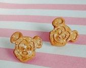 Mickey Mouse Waffle Earrings - Handmade Mini Food Dessert Candy Jewelry - Disney Disneyland Gift