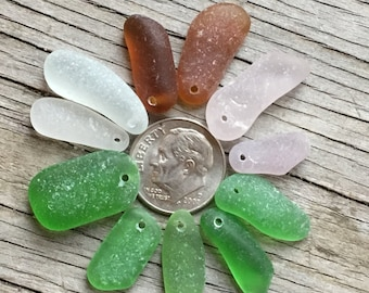 Genuine Sea Glass Pendants, Top Drilled, Jewelry Quality B, Glass Beach, Vintage, Natural, Beach Gypsy Soul, Boho, Spikes, Unique Pendants