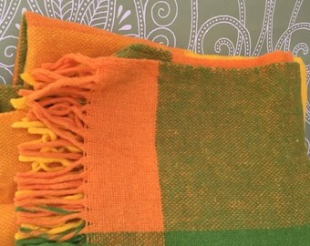 Vintage Retro 1960's Green Orange and Yellow Wool Throw Blanket - Travel Blanket