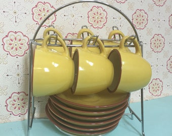 Set of Yellow Espresso Cups and Saucers - Retro Espresso Demitasse Cups and Saucers with Holder