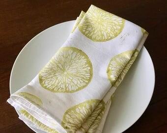 Block printed napkins - Cotton Cloth Napkins - Flour sack napkins - Eco Friendly Dinner Napkins - Lemon - Handmade Cotton Napkins - Reusable