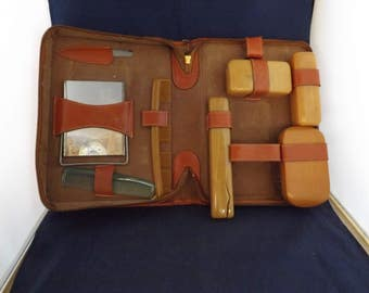 Leather Shave Kit Toiletry Case