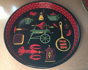 Vintage BBQ Picnic Metal Serving Tray Mid Century Modern Design Camping Outdoor Gear Lobster Tray MCM Mod Kitchen Decor 1950's 1960's