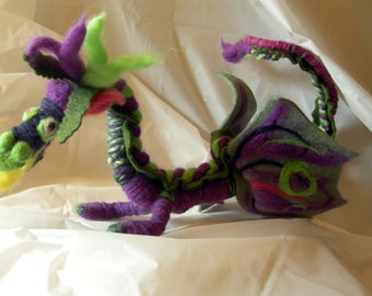 Dragon doll violet and forest green interactive, posable for fantasy, fairy tale decoration and gentle play. Named Annabel.
