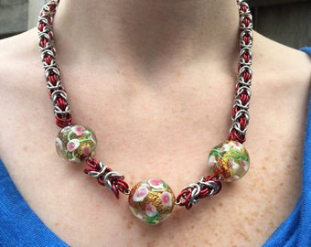 Red Lampwork Bead Chainmaille Art Glass Necklace