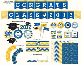 Graduation Party Printable, Medium Blue and Yellow, Includes Cupcake Toppers, Banner, Tags and More