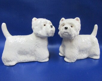 West Highland Terrier Salt and Pepper Shaker Westie Salt & Pepper Cruet Hand Painted
